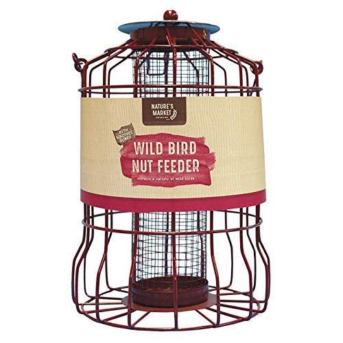 HomeZone Garden Mile Bleu Deluxe Écureuil Étanche Alimentation Cage Graines Noix Fat Boules avec Sûr Garde Extérieur Cage Étanchéité pour Jardin - Rouge Mangeoire