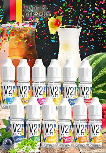 V2 Vape E-Liquid Set Best Of V2 Vape ohne Nikotin 12x10ml - Luxury Liquid Made in DE 0mg nikotinfrei