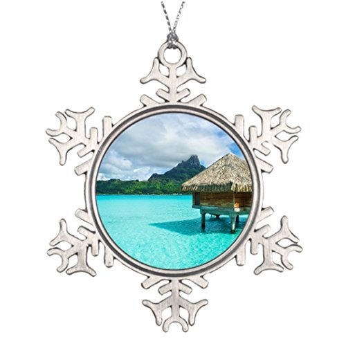 Personalized Christmas Snowflake Funny Ornaments Over-Water Bungalow Bora Bora Tree Branches Decor