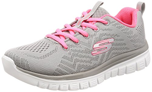 Skechers Women 12615 Low-Top Trainers, Grey (Gray Mesh/Coral