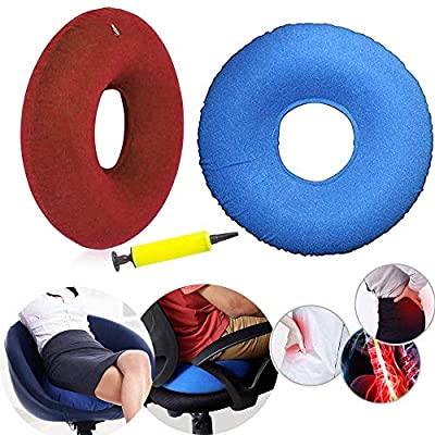 2pcs Inflatable Donut Ring Cushion 40cm with Inflator Pump for Hemorrhoid Treatment Seat Coccyx Tailbone Pillow Perineum Pain Pregnancy Childbirth Prostatitis Wheelchairs Car Home Office (Blue + Red)