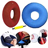 Cojín de anillo de rosquilla inflable 40 cm Tratamiento de hemorroides Asiento Almohada Coxis Coxis con bomba, Almohada médica Úlceras en la cama Ideal para sillas de ruedas