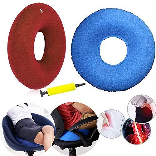 2 stücke Kissen mit Inflator Pumpe Aufblasbare Donut Ring Kissen 40 cm für Hämorrhoiden Behandlung Sitz Steißbein Steißbein Kissen Bett Wunden Perineum Schmerzen Schwangerschaft Geburt