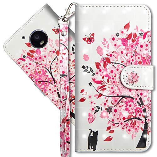 MRSTER Moto G5 Handytasche, Leder Schutzhülle Brieftasche Hülle Flip Case 3D Muster Cover mit Kartenfach Magnet Tasche Handyhüllen für Motorola Moto G5. YX 3D - Tree Cat