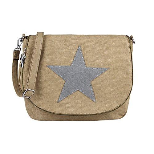 OBC ital-Design Damen Stern Tasche Messenger Bag Handtasche Shopper Henkeltasche Glitzer Clutch Beuteltasche Schultertasche Umhängetasche (Khaki-Grau)