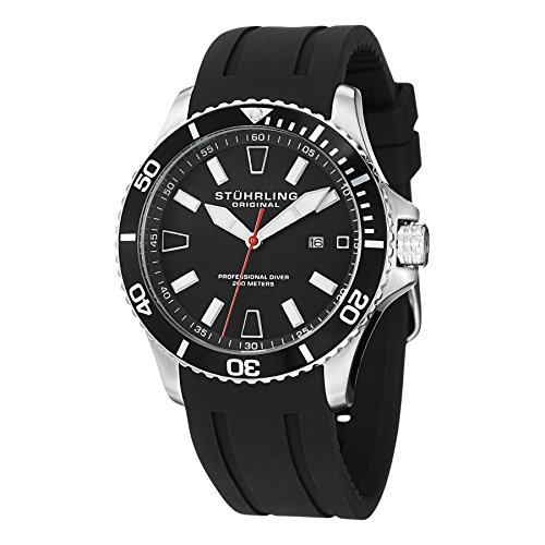 Stuhrling Original Aquadiver Regatta Mens Black Watch - Quartz Analog...