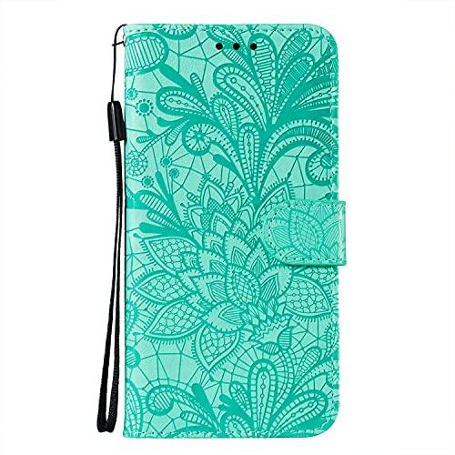 JZ Nova 3i Capa carteira protetora com flores de renda para Huawei Nova 3i / P Smart+ Plus com alça de pulso e capa flip magnética - Verde bebê