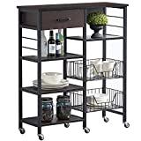 VECELO Kitchen Baker's Rack 36.6' Storage Shelf Organizer, Microwave Oven Stand, Utility Cart on Wheels, Black Walnut