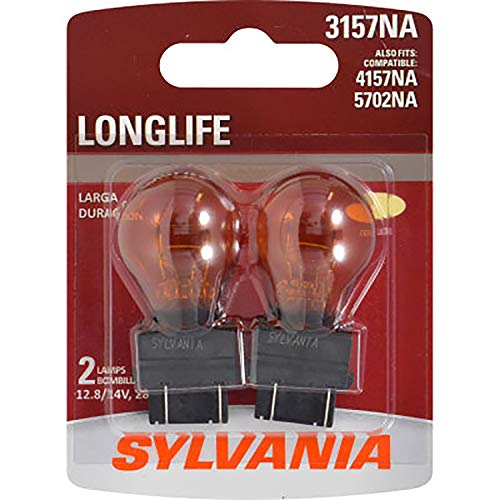 SYLVANIA - 3157NA Long Life Miniature - Amber Bulb, Ideal for Parking, Side Marker and Turn Signal Applications (Contains 2 Bulbs)
