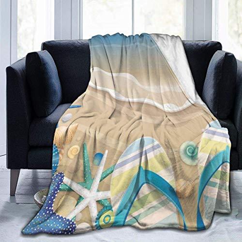 Lawenp Manta de Tiro Flipflops de Playa Manta de Microfibra Ultra Suave Manta de sofá Suave y cálida para sofá de Cama Sala de Estar