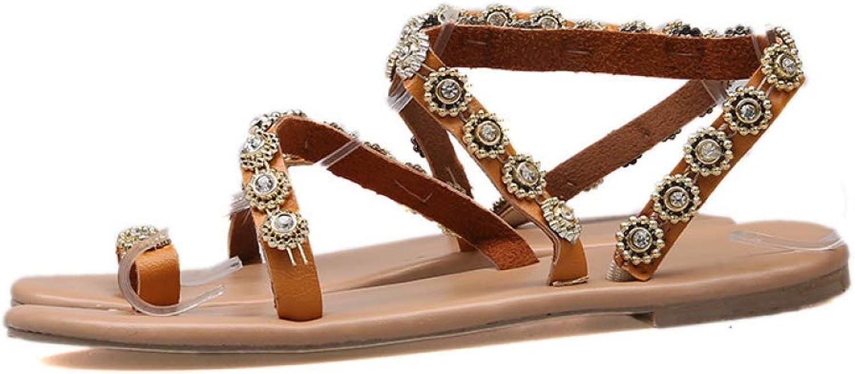 Btrada Summer Women Flat Heel Sandals Casual Flip Flop Female Gladiator Sandal Bling Crystal Beach shoes