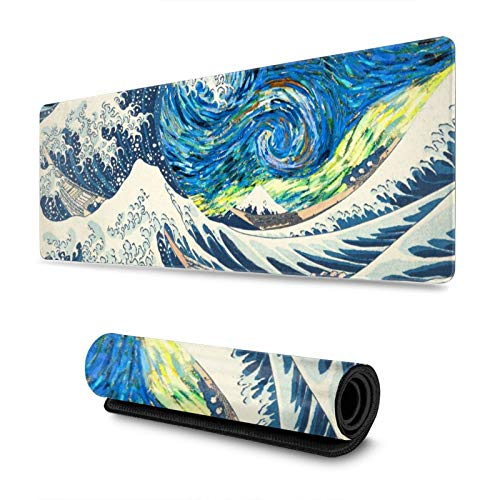 Japanese Waves Kanagawa Ocean Wave Gaming Mouse Pad, Long Extended XL Mousepad Desk Pad, Large Non Slip Rubber Mice Pads Stitched Edges, 31.5'' X 11.8''