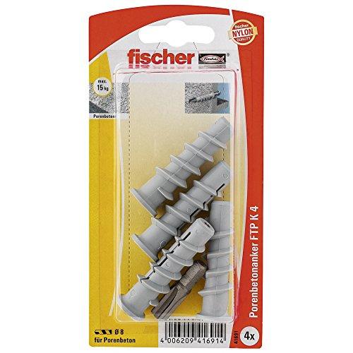 fischer 041691 Turbo Porenbetondübel K SB-Karte, Inhalt: 4 x Dübel FTP K4 + Profi-Bit PH3