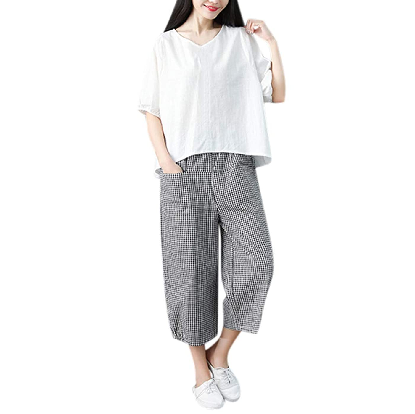 Women's Casual Cotton Linen 2 Pieces Outfit Short Sleeve Round Neck T Shirt Loose Tops Comfy Breathable Lattice Palazzo Cropped Pants with Pockets