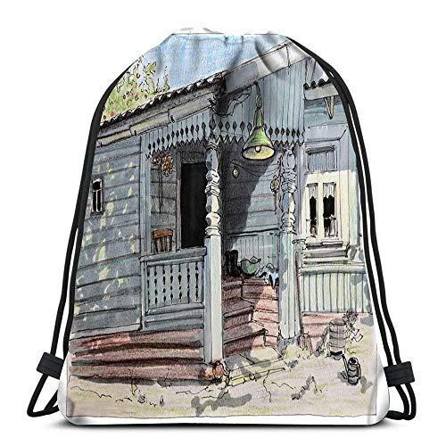 BOUIA Kordelzug Taschen Rucksack Skizze eines Filzstifts Stift Ländliches Leben Sommer im Dorf Eine offene Tür Geschnitzte Reisegymnastik Taschen Rucksack