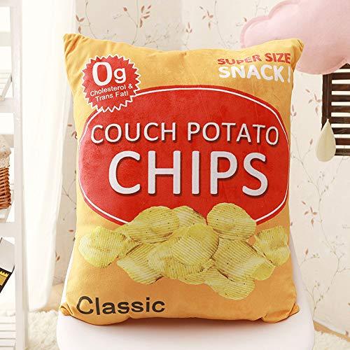 ZRZJBX Popcorn di Patatine Fritte Cuscino Peluche Cuscini per La Casa Ufficio Cuscino per Dormire novità Regalo per Bambini E Adulti Sfoderabile in Peluche,Potatochips-50×45cm