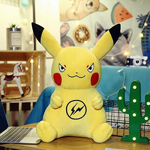 CushionsHome Lindo Juguete de Felpa Pikachu Anime Juego Juguetes Almohada muñeca Juguete de Peluche para niños Regalo de cumpleaños 80cm Amarillo-3