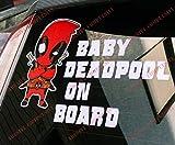 Adesivo BABY DEADPOOL ON BOARD per auto e moto