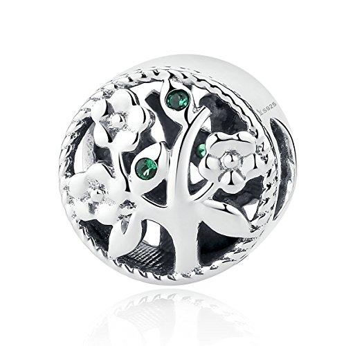 Abalorio para colgar inspirado en el árbol de la vida, fabricado con Plata de ley 925, compatible con pulseras Pandora y pulseras europeas.