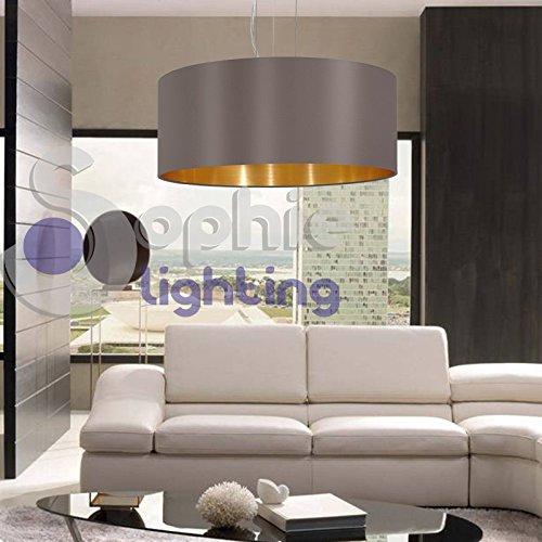 Sophie Lighting EG 80613 Lustre suspension réglable abat-jour en tissu gris doré rond diamètre 53 cm design moderne salle à manger cuisine salon chambre magasin showroom