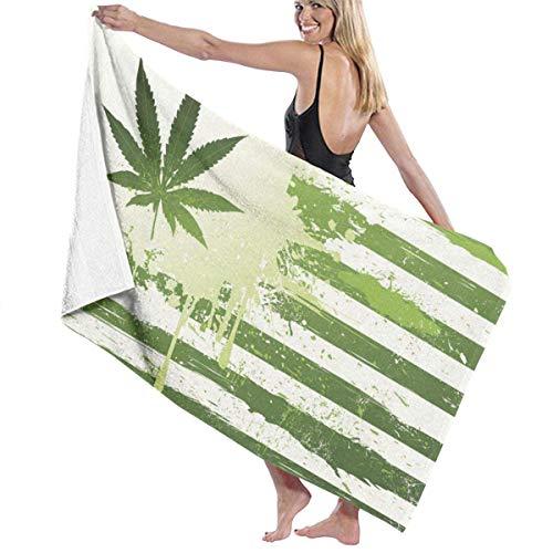 Bath Towel Beach Towel,Cannabis Leaf Flag, Hand Towel for Swim Sports Yoga Travel Camping Gym Pool Towels,130x80cm
