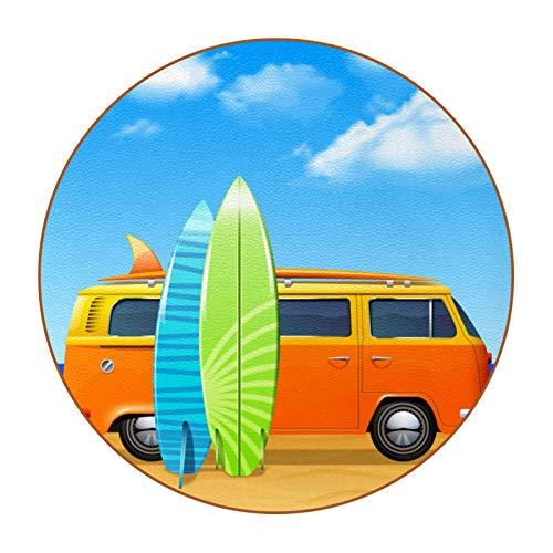 Juego de 6 posavasos de piel de fibra superfibra redonda con diseño de autobús con tablas de surf para evitar muebles y mesa