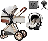 Lightweight Luxury Stroller ,Luxury Baby Stroller Travel Systems, Jogger Baby Strollers 3 In 1 Foldable Stroller Carriage Shock Absorption Pram Baby Stroller With Baby Basket And Backpack, (7 Kinds Of