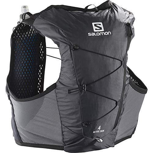 Salomon Active Skin 4 Set Gilet Idratazione, Uomo, 4L, 2x Soft Flasks Inclusi, Trail Running Escursionismo, M, Nero (Ebony)
