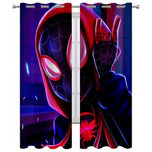 SSKJTC Juego de cortinas para oscurecer la habitación, diseño de Spiderman con ilustración de privacidad, 214 x 214 cm (ancho x largo x largo).