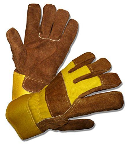 MENS B&G HEAVY WORK INSULATED FLEECE PILE LINED LEATHER WINTER GLOVES XL