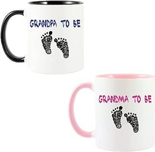 Mashed Mugs - Grandpa To Be/Grandma To Be (Footprints) - 2-Pack Coffee Cup/Tea Mug (White/Black & White/Pink)