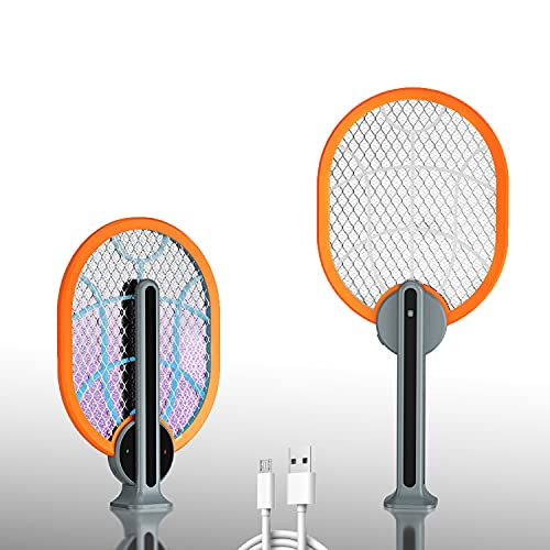Raqueta Eléctrica Mata Insectos Recargable | Raqueta Anti-Insectos Plegable | Elimina Bichos, Avispas, Moscas y Mosquitos (Naranja)