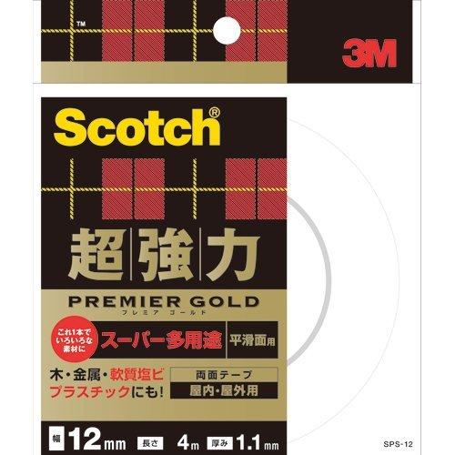 スリーエム 超強力両面テーププレミアゴールド12 SPS-12 00276778【まとめ買い3個セット】