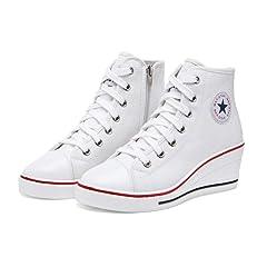 123bbfcd7f6 Women Wedges Sneakers Platform Causal Hidden Heel Lace up Canvas ...
