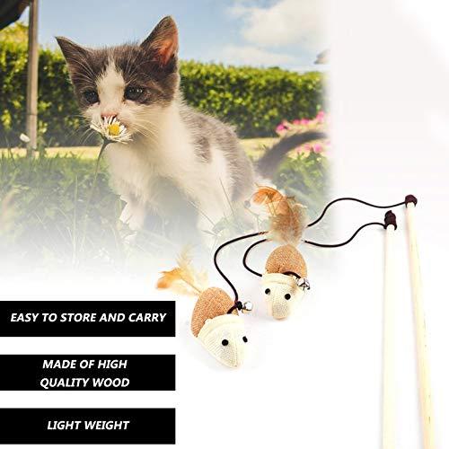 Juguete divertido de interacción de longitud de juego de gatito Juguete de gato Varita de juguete de ratón de lino surtido con campana pequeña y pluma suave - multicolor