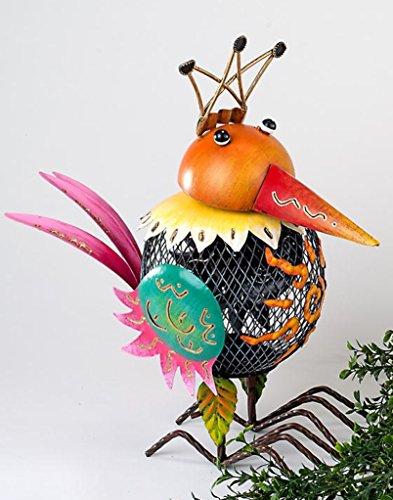 Formano windlicht grappige vogel van Sunshine metaal met oranje kop, 38 cm