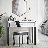 Beautify Console Coiffeuse Noire à Effet Miroir avec de Grands tiroirs, poignée en...