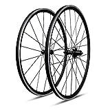ICAN Juego de Ruedas de Aluminio para Bicicleta de Carretera, 27 mm de Profundidad, Cubierta sin cámara, Listo para Tirar Recto, CNC, 6 trinquetes, radios de Pillar de buje
