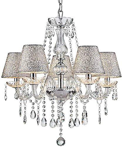 Lampadario moderno in vetro cristallo Lampadario a sospensione a 6 bracci con base E14 Paralume cromato finitura argento Larghezza 60cm, Altezza 60cm