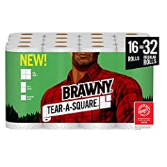 Brawny tear a square 2 ply, premium white paper towel has a unique quarter sheet size option with 256 quarter sheets per roll; Brawny tear a square provides a smaller sheet size option for your smaller tasks so that your roll can last longer Messy su...