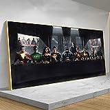 Moda Los superhéroes de la Liga de la justicia cenan juntos cartel e impresiones cómics cuadro lienzo arte de pared Superman Batman decoración pintura 30x90cm