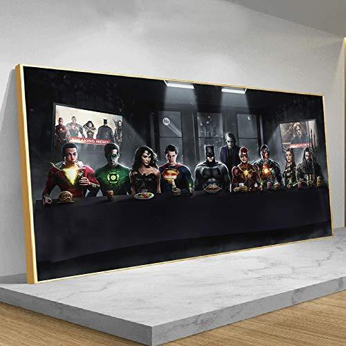 Moda Justice League super-héros ont dîner ensemble affiche et impressions bandes dessinées photo toile mur Art Superman Batman décor peinture 30x90cm