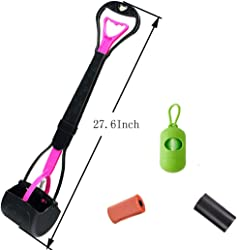 New Trends 27.6Inch Long Handle pet Poop Scooper Include Strong Poop Scooper and Rubbish Bags Easy to Don t Bend Over Clean The Dog Poop (Random Color)