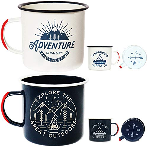 Adventure Enamel Camping Mug - 2 Pack Large 16oz of Love, Morning Coffee Mug - (455ml) Tin Cup Campfire Mug for Outdoors, Breakfast Wanderlust Travel Cup for The Happy Camper!