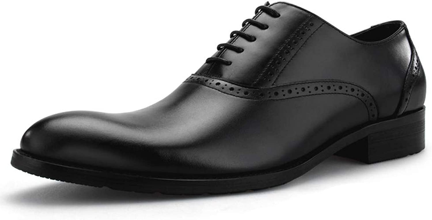 StickSeek Classic Design Genuine Leather Men's Formal Dress Oxfords Carved Man Wedding Party Brogue shoes