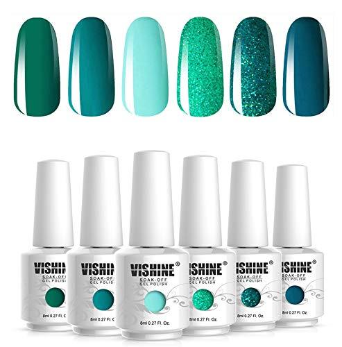Vishine 6Pcs Vernis à Ongles Gel Semi Permanent Vert Collection Soak Off UV LED Gel Nail Polish Nail Art Kit Gift Set 8ml