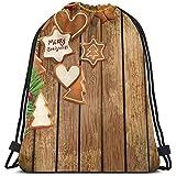 BOUIA Backpack café marrón madera retro Navidad cordelzug mochila langlebig gran capacidad ligera sporttasche cinch bolsillos portátiles aufbewahrungstasche