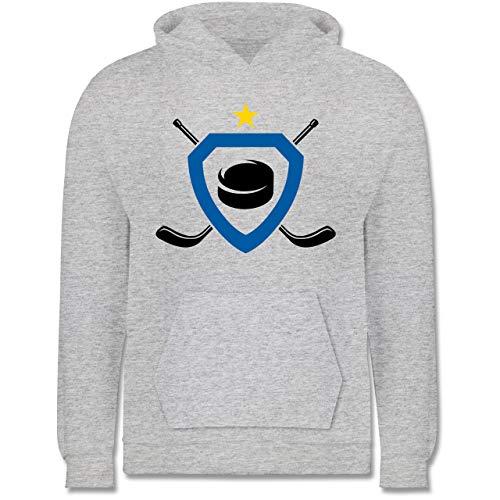 Sport Kind - Puck Eishockeyschläger Stern - 128 (7/8 Jahre) - Grau meliert - Eishockey Pullover - JH001K JH001J Just Hoods Kids Hoodie - Kinder Hoodie