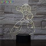 XLLQYY 3D Illusion Light LED Night Light Light Rockman Niños Decoración del hogar Touch Sensor Dormitorio Ambiente Niños Mega Man Game Niños S Cumpleaños Regalos
