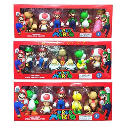 Klycbds 3 Unids / Set Super Mario Bros 3-7 Cm PVC Figura De Acción Juguetes Muñeca Mario Luigi Yoshi Seta Donkey Kong En Caja De Regalo Encantador Regalo para Niños